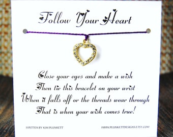 Follow Your Heart - Wish Bracelet - (Heart Of Gold) - Shown In The Color VINEYARD  - Over 100 Different Colors Are Also Available