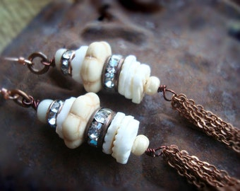 White Turquoise shell beaded tassel earrings- rustic tribal beach jewelry