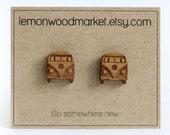 VW Bus Earrings - alder laser cut wood stud earrings
