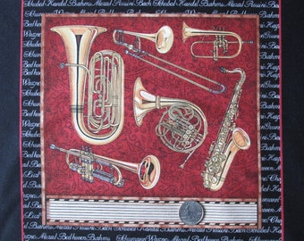 """Cotton Print Panel by Dan Morris RJR Perfect Pitch 2011 45"""" wide BTY Music Instruments Piano Guitars Harp Horns Violin"""