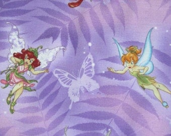 "Disney Cotton Fabric Tinkerbell and Fairy Friends on Leaves and Butterflies 45 "" wide BTY Purple Pink"