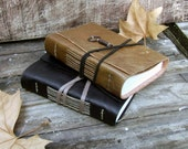 Two Leather Journals, Black and Ocher - Christmas Gift Set