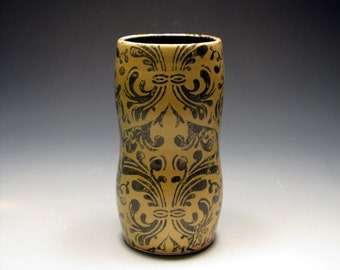 Amber and Cobalt Tumbler with Damask Pattern