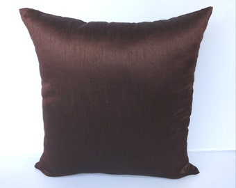 Brown dupioni silk pillow cover 20 inch  and throw pillow  -IN STOCK