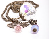 Vintage Style Sweetheart Necklace, Faceted Crystal Antiqued Bronze Necklace, Crystal Lucite Flower Accents