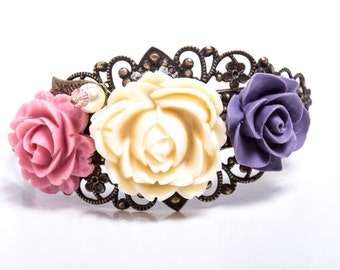 Victorian Garden Filigree and Resin Rose Antiqued Brass Cuff with Swarovski Crystals & Pearls