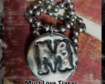 Handmade Southern Glam Initial pendant necklace molten metal