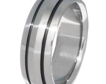 Black Titanium Wedding Band  - Custom Ring with Black Stripes - bk21