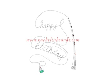 Fly Fishing Happy Birthday Card