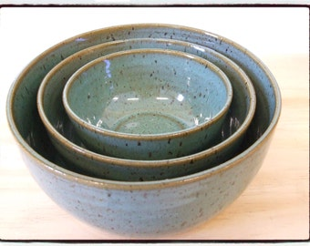 Turquoise Nesting Bowls-Set of Three by misunrie-Reserved List