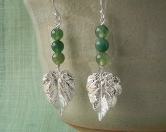 Japanese Ivy /Japanese Creeper Leaf Earrings - Pure Silver Real Leaf, Moss Agate Gemstone, Botanical Jewelry, Woodland Jewelry