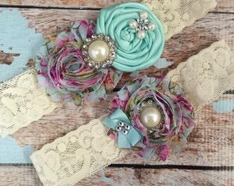 Wedding garter / AQUA BLUE / Blue Floral Garter SET / wedding garters / bridal garter/ lace garter / vintage lace