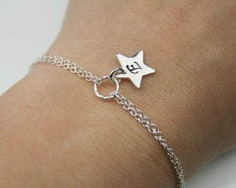 Personalized Tiny Initial Star Sterling Silver Bracelet