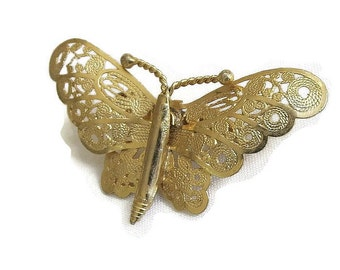 Filigree Butterfly Brooch Vintage Twisted or Coiled Wire