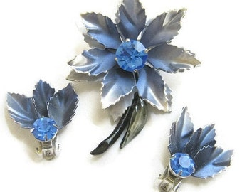 Vintage CORO signed, Blue & Gray Enamel with Sapphire Blue Rhinestone Layered Flower Brooch and Earrings Demi Parure Set