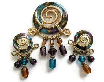 Vintage Egyptian Style Teal, Purple & Amber Enameled Brooch or Pin and Earrings Demi Parure Set