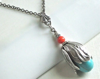 Turquoise Coral Silver Flower Bud Necklace - Southwestern Jewelry, Turquoise Necklace, Floral Jewelry, Nature Jewelry