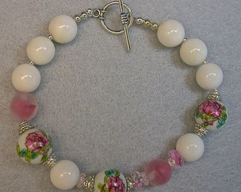 Vintage Chinese Porcelain WHITE Chalcedony Bead Bracelet- Pink Rose Flowers, Vintage German Pink Givre Glass Beads, Sterling Silver Clasp