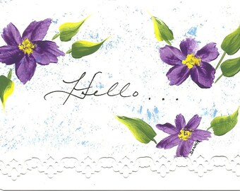 """Hand Painted """"Hello"""" Card"""