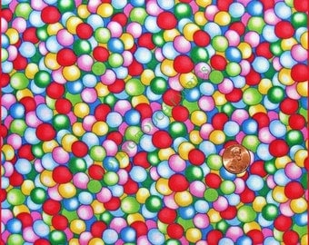 "Timeless Treasures ""Gumballs All Over"" Sweets Candy Chewing Gum Cotton Fabric Priced Per 1/2 Yd"