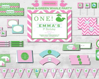 Pink & Green Chevron - Whale Party Package - DIY Print-at-home PDF File