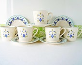 Vintage 1960s Tea Cups and Saucers Swiss Alpine Pattern by Marcrest Blue