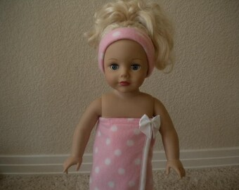 Pink with White Polka Dots Fleece Bath or Spa Wraps with matching Headband for American Girl Dolls or Most 18 inch Dolls