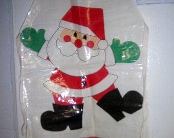Vintage Santa Apron - Plastic Coated 1960's Amscan Christmas Apron - Santa Apron - Christmas Apron - Holiday Apron - Plastic Santa Apron