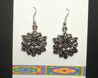 Handcrafted silvertone cute floral shaped dangle earrings with sterling silver earwires