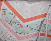 baby blanket, quilted baby blanket- chevron birds and mint- ready to ship