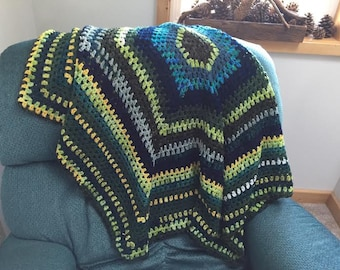 crocheted afghan, greens, blues, yellow