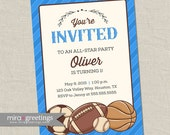 Vintage Sports Birthday Party Invitations - Baseball, Basketball, Football, Soccer Balls - vintage boy party invite (Printable Digital File)