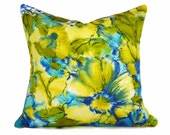 Blue Green Watercolor Pillow Cover, Bold Floral Pillows, Colorful Throw Pillow, Vibrant  Azure, Chartreuse, Boho Chic Decor, 18, 20, 22