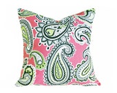 Paisley Pillow Covers, Pink Green Toss Pillows, Fun Bright Cushion Covers, Whimsical Pillows, Dorm Decor, PILLOW SALE, 18x18