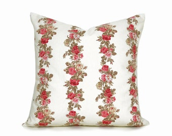 Vintage French Country Pillows, Romantic Pillow Covers, Cream Pink Rose, Unique Floral Cushion Covers, Cottage Chic Decor, 20x20