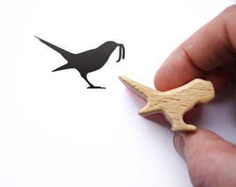 Bird Stamp, Bird Lover Gift, The Early Bird Catches the Worm