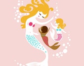 """8X10"""" mermaid mother and daughters giclee print on fine art paper. pink, blonde, mocha, multicultural, adoption."""