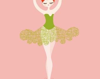 "11X14"" ballerina en pointe giclée print on fine art paper. coral pink, green, redhead."
