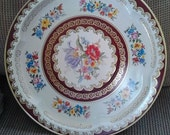 Lovely Vintage Mid Century Lithographed Floral Tin Serving Tray For Chips & Dip, Cookies, Crudites