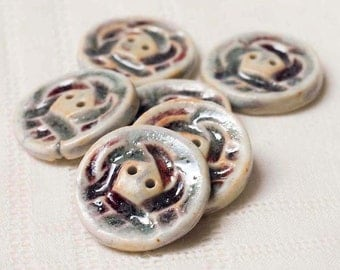 Water Knots Buttons – Porcelain - Pottery - Clay - Ceramic - Handmade