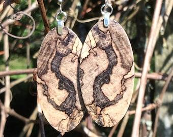 Resin Infused Spalted Hackberry Wood Earrings