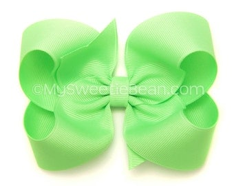 Key Lime Hair Bow, 4 inch Basic Bow, Bright Mint Boutique Bow, Classic Bow, No Slip Hair Bows, Baby Toddler Girl