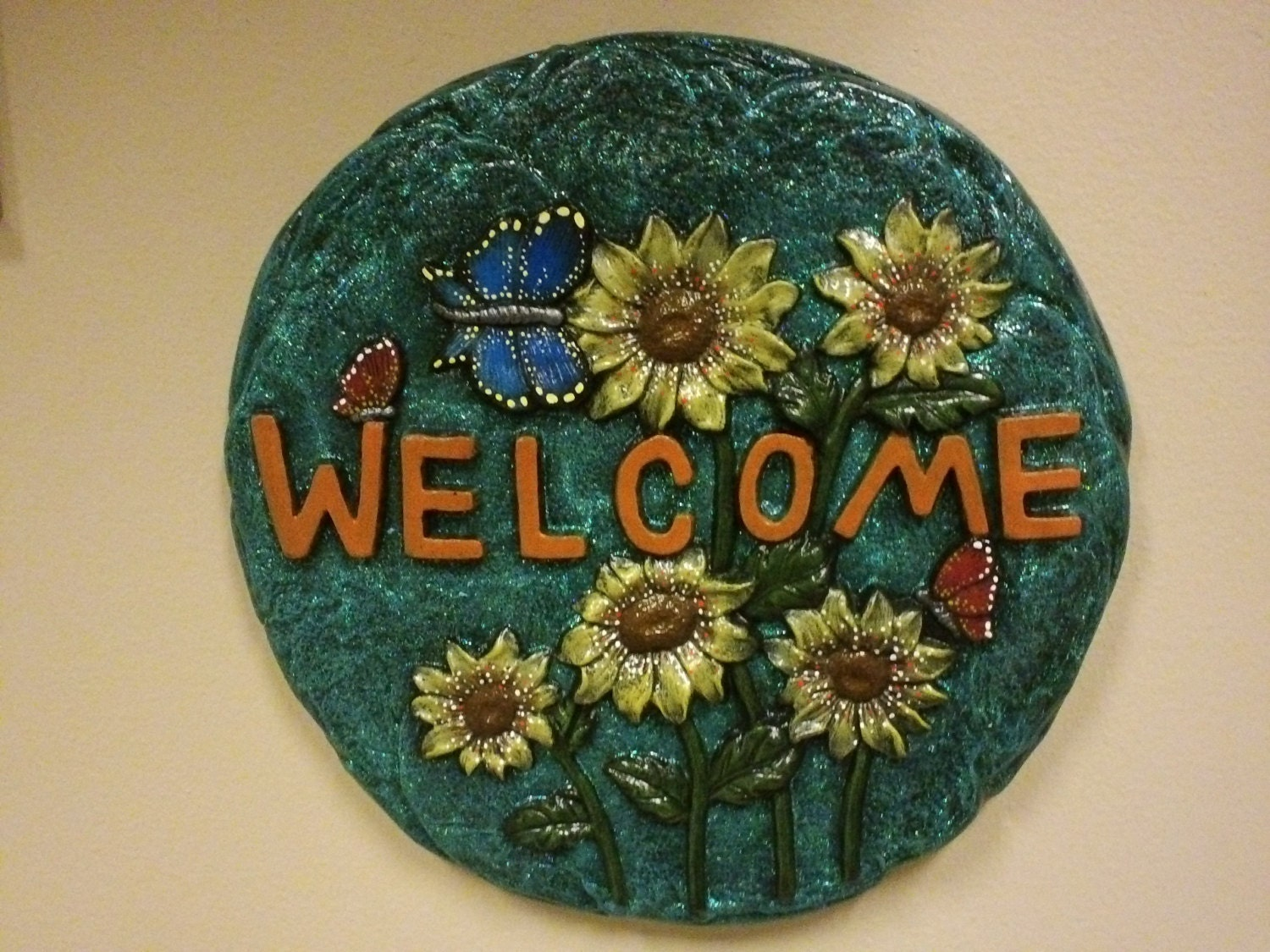 Ceramic Stones Made : Hand painted ceramic welcome stepping stone by cinstreasures