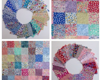 "50 Liberty Lawn fabric 2.5 inch charm squares - Ditsy Prints - 50 Liberty tana lawn 2.5"" patchwork squares"