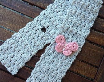 Child size Butterfly scarf in linen with a pink butterfly