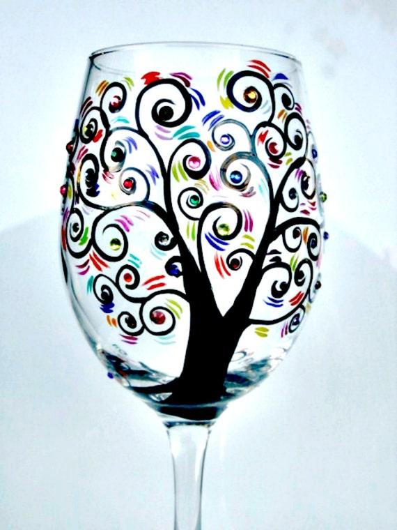 Hand Painted Wine Glass Jumbo Wine Glass Black Tree With