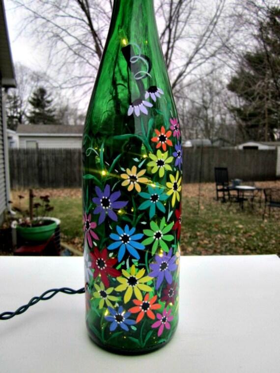 Wine Bottle Light Night Light Hand Painted Green Wine