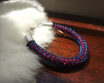 Bi-Layer Wire Wrapped VIKING KNIT Bracelet - Single Weave Blue Finished Wire Layered Over Double Weave Red Finished Wire - 7 Inches Around