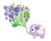 Purple Elephant and watercolor flowers Nursery Decor- kids wall art