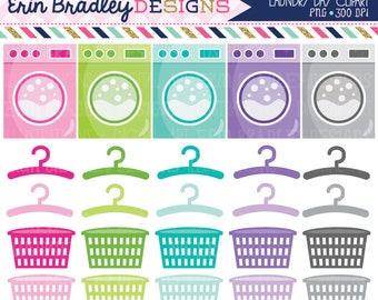 Laundry Clipart Graphics Chores Clip Art Washing Machines Hangers Laundry Baskets Personal & Commercial Use